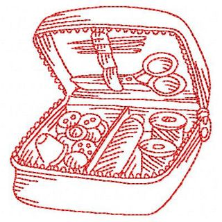 Free Redwork Sewing Set