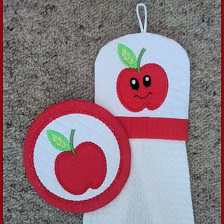 Free Apple In the hoop Coaster and Towel Topper
