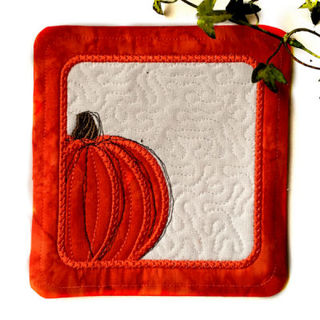 Free In the hoop Pumpkin Coaster