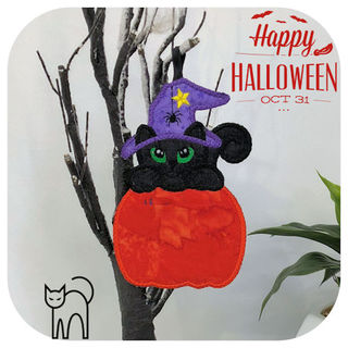 Free In the hoop Halloween Cat Coaster