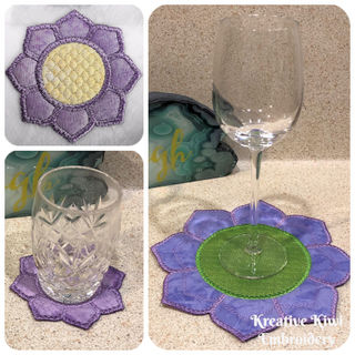 Free In the hoop 8 Petal Flower Coaster