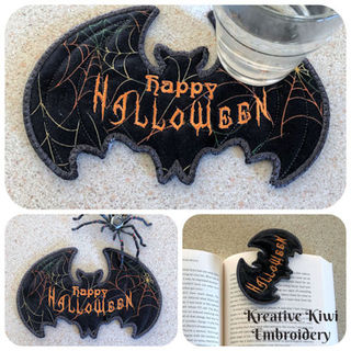 Free In the hoop Bat Bookmark - Coaster