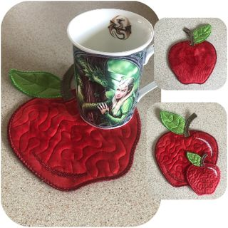 Free In the hoop Apple Coaster