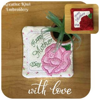 Free In the hoop Mothers day Coaster