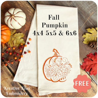 Free Fall Pumpkin Embroidery Design