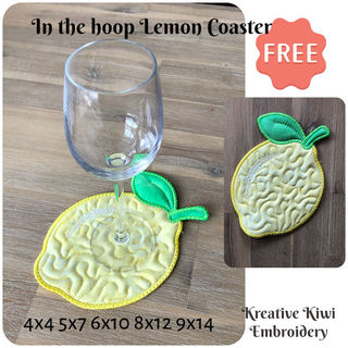 Free In the hoop Lemon Coaster