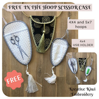 Free In the hoop Scissor Case and USB Holder