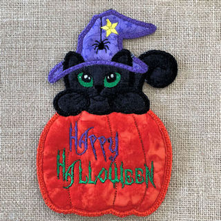 How to make our Free In the hoop Halloween Cat Coaster