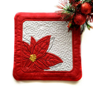 How to make In the hoop Poinsettia Coaster