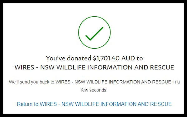 24 January Donation to WIRES