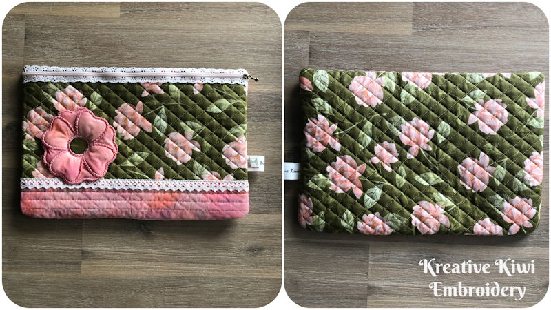 9X14 Lace Zip Bag with 3D Flower - front and back