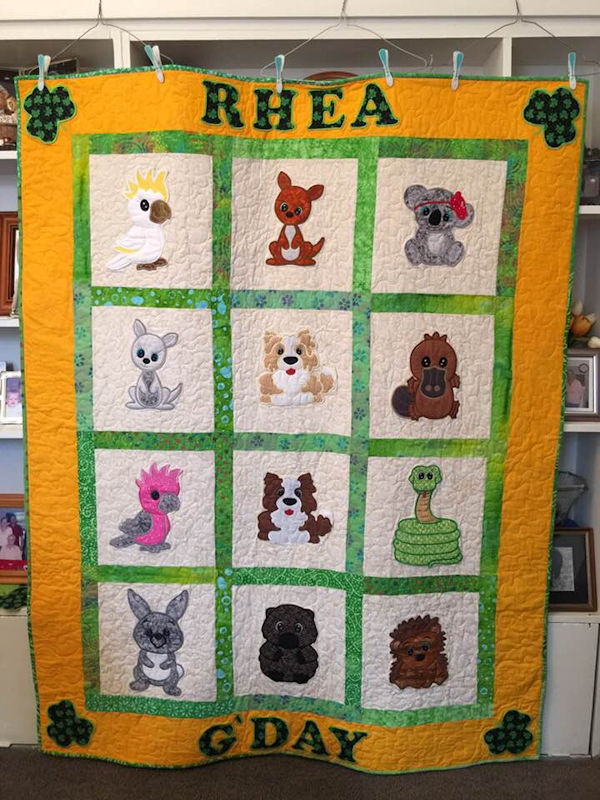 Aussie Animal Quilt made with Large Aussie Designs