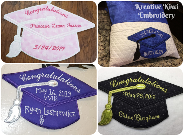 Applique Graduation Cap Samples