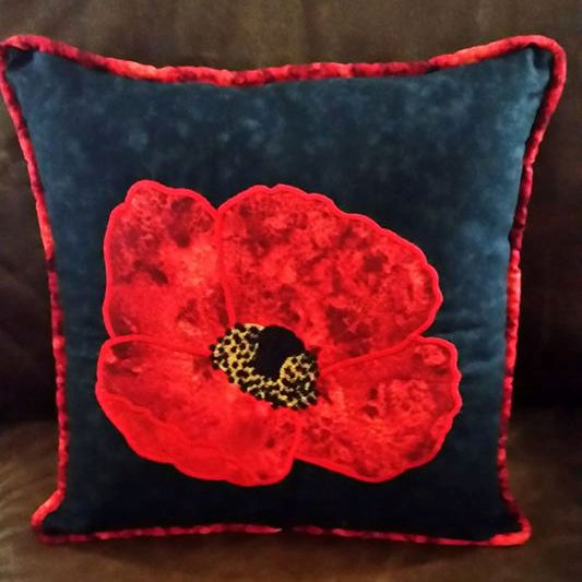 Applique Poppy Cushion