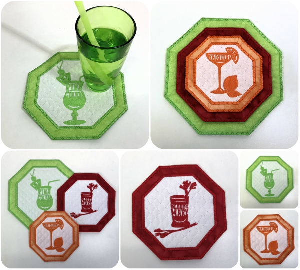 Cocktail Coasters in the hoop