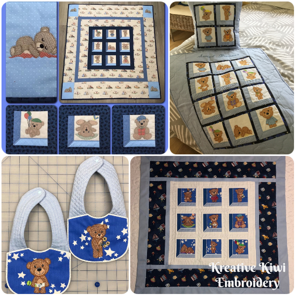 Teddy Bear Quilts made with Scruffy Bear Design