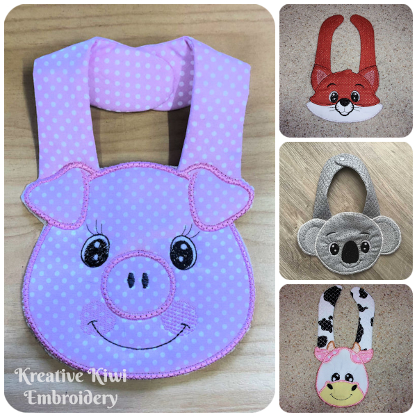 Animal Bibs made In the hoop
