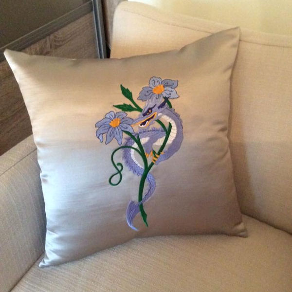 Machine Embroidery Dragon Cushion