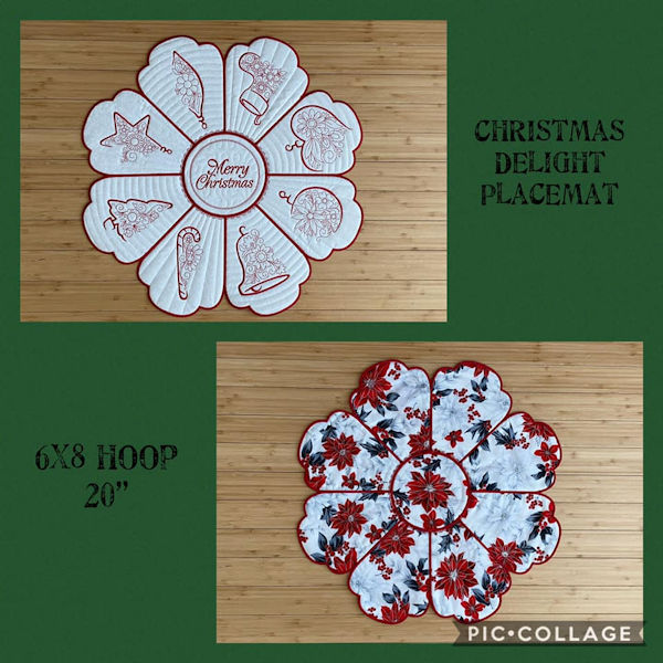Christmas Delight Placemat by Beverly 6x8 hoop