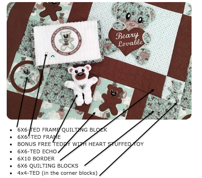 Close up of brown teddy quilt showing designs used