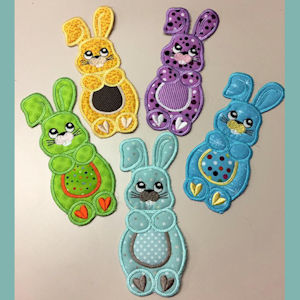 In the hoop Bunny Bookmark