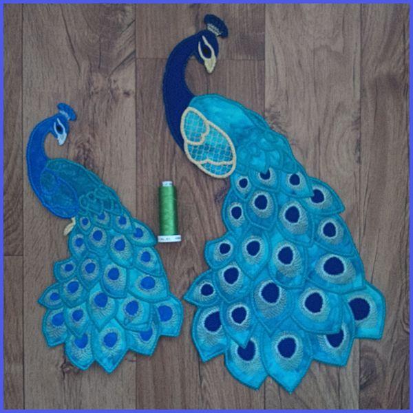 Peacock Large Applique Machine Embroidery Design