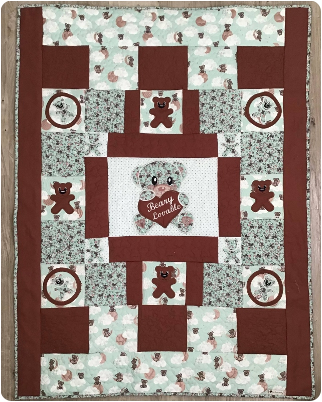 Darina brown and green Teddy Quilt