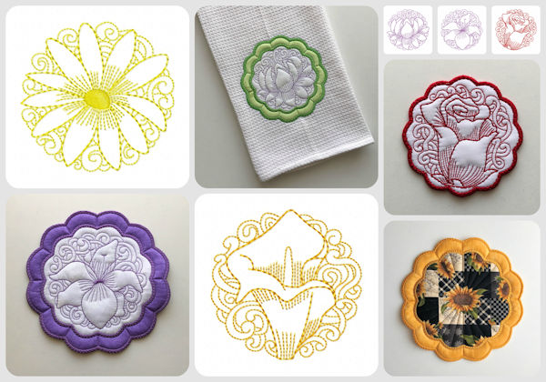 In the hoop Floral Coasters