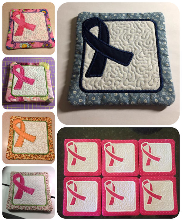 Free In the hoop Awareness Ribbon Coaster Samples