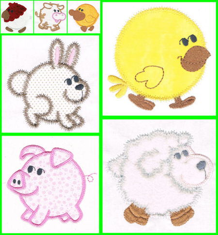 Free Chubby Farm Animals Applique