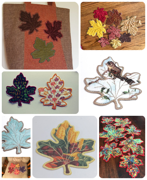 Free In the hoop Leaf Coaster Samples