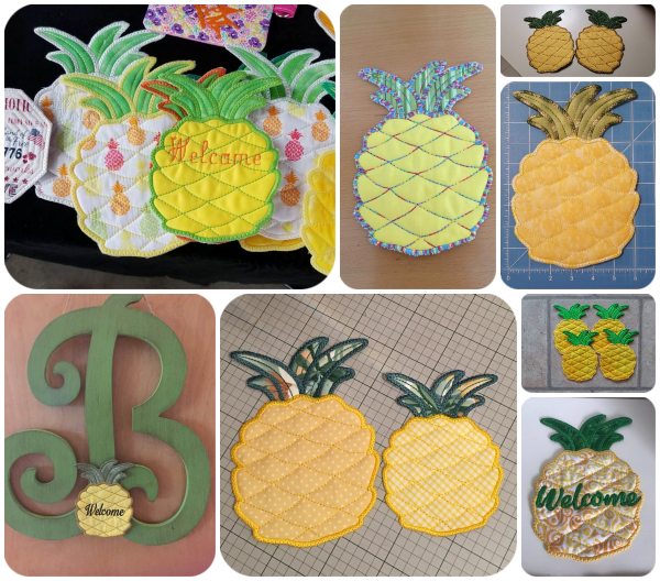 Free In the hoop Pineapple Coaster Samples