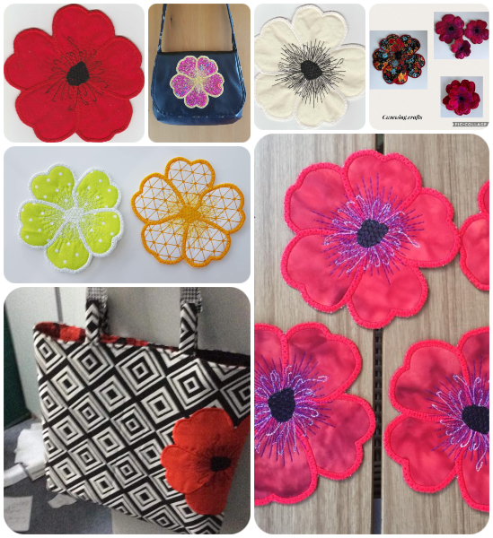 Free In the hoop Poppy Coaster Samples