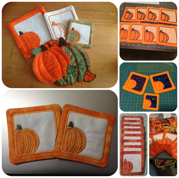Free In the hoop Pumpkin Coaster samples 1608