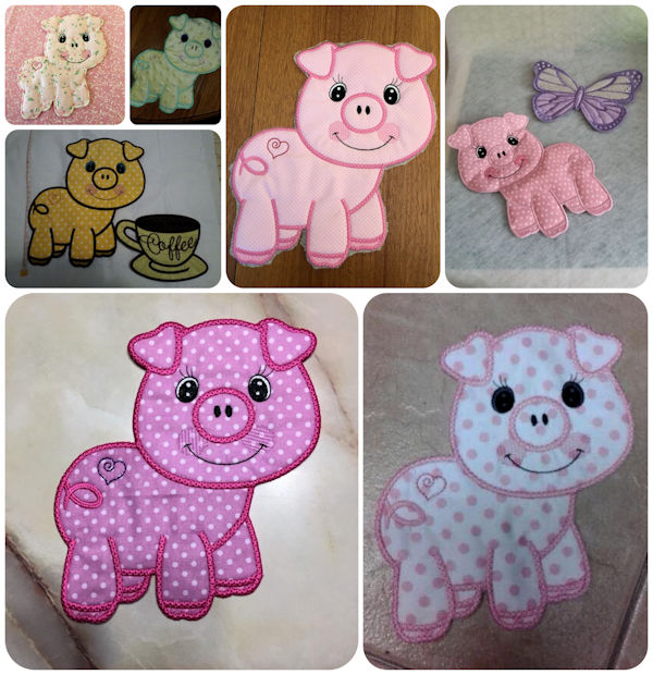 Free Large Pig Applique Machine Embroidery Samples