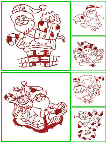 Free Little Santa Redwork Designs