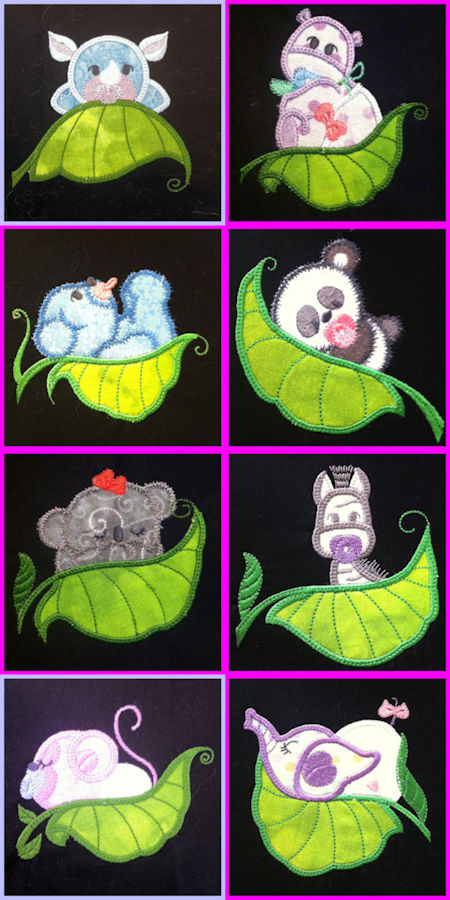 Free Applique Pea Pod Animal Designs