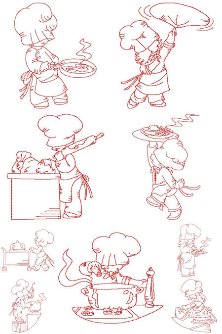 Free Redwork Chef Embroidery Designs