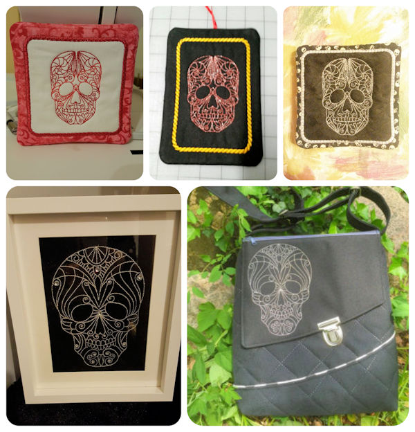 Free Redwork Skulls Machine Embroidery Design Samples