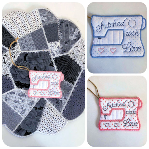 Free In the hoop Sewing Machine Gift Tag
