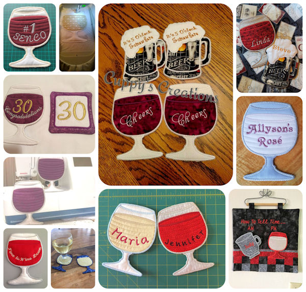 Free in the hoop Wine Glass Coaster Samples 1608