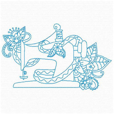 Free Floral Sewing Machine 01