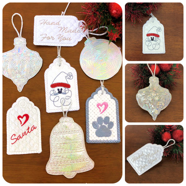 Free In the hoop Ornaments and Gift Tags
