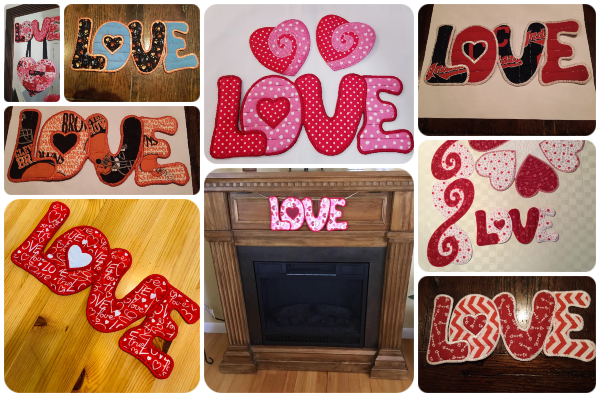 Samples of Free In the hoop Love Machine Embroidery Design