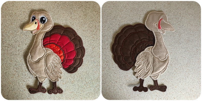 Front and Back of Large Applique Turkey