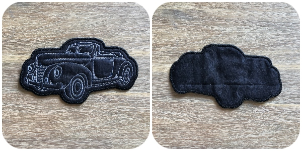 Front and Back view In the hoop Car Coasters - 600