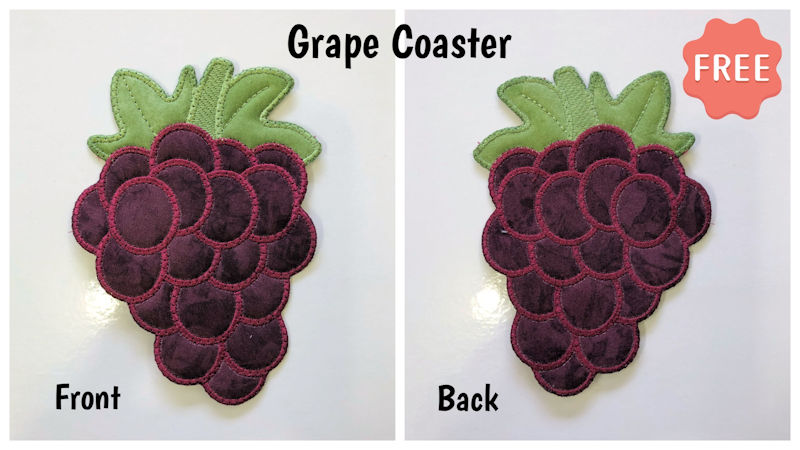 Front and back of Free In the hoop Grape Coaster