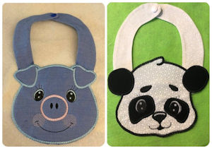 Animal Bibs made by Gabe using Applique Animal Designs