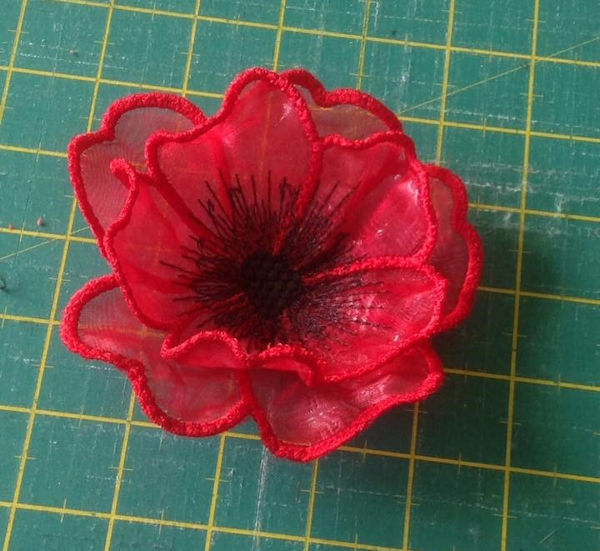 Free Poppy stitched on Organza