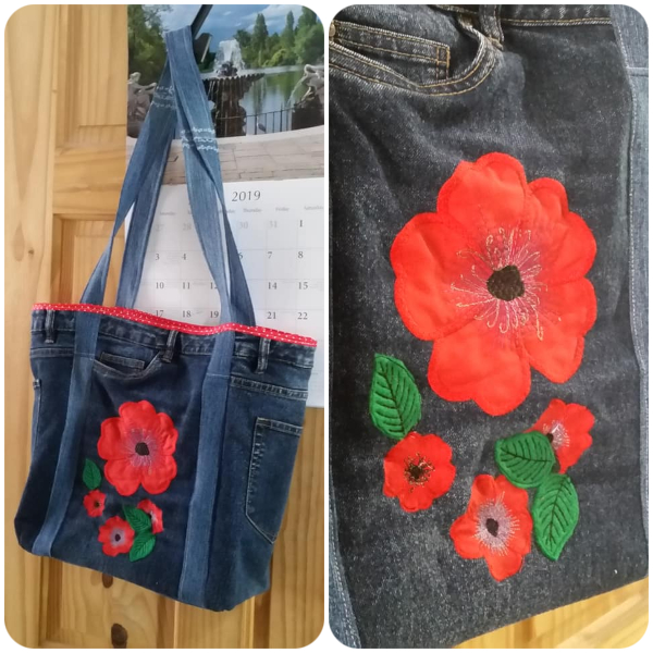 Jeans Bag with Free In the hoop Poppy